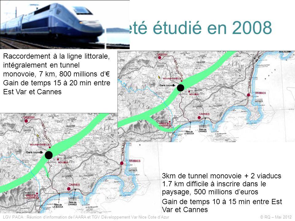 Ce qui avait été étudié en 2008 LGV PACA : Réunion d'information de l'AARA et TGV Développement Var Nice Cote d'Azur © RQ – Mai 2012 Raccordement à la ligne littorale, intégralement en tunnel monovoie, 7 km, 800 millions d'€ Gain de temps 15 à 20 min entre Est Var et Cannes 3km de tunnel monovoie + 2 viaducs 1.7 km difficile à inscrire dans le paysage, 500 millions d'euros Gain de temps 10 à 15 min entre Est Var et Cannes
