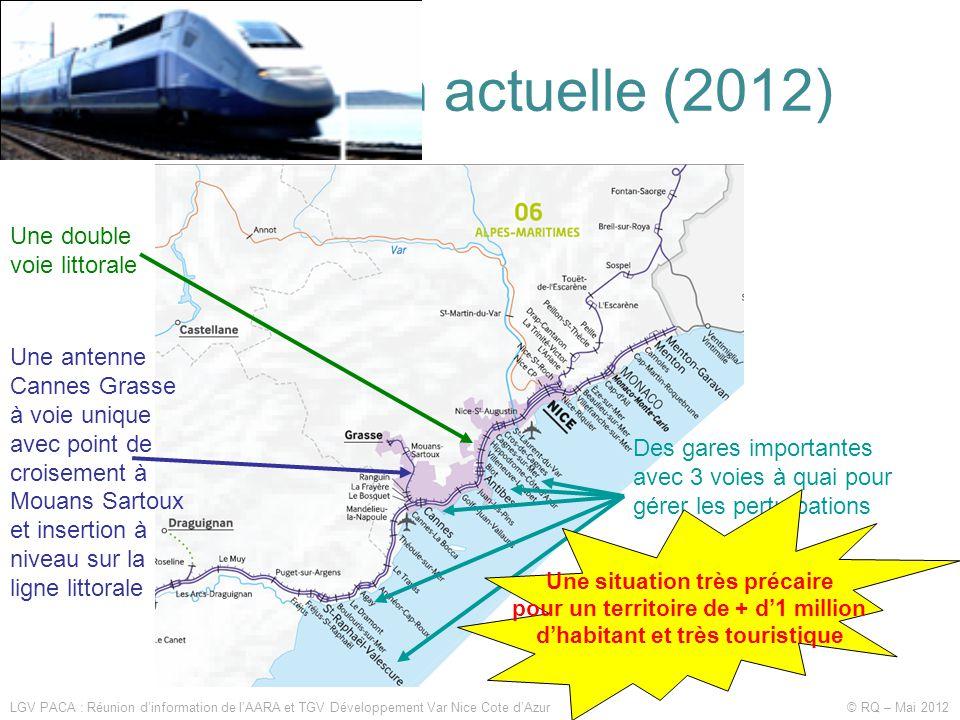 La situation actuelle (2012) LGV PACA : Réunion d'information de l'AARA et TGV Développement Var Nice Cote d'Azur © RQ – Mai 2012 Une double voie litt