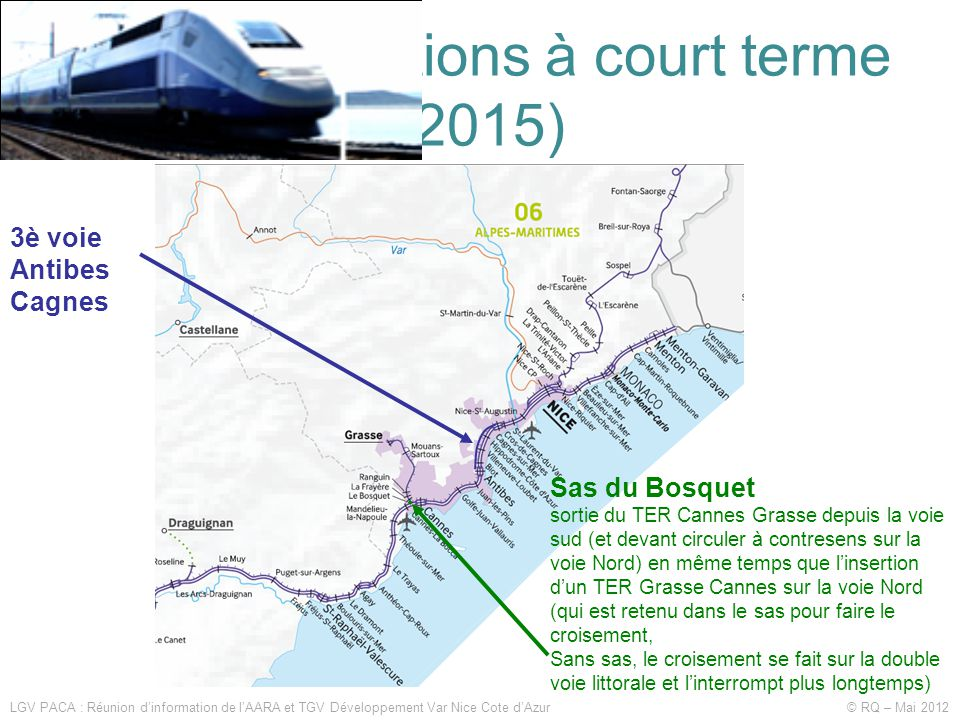 Les améliorations à court terme (2015) LGV PACA : Réunion d'information de l'AARA et TGV Développement Var Nice Cote d'Azur © RQ – Mai 2012 3è voie An