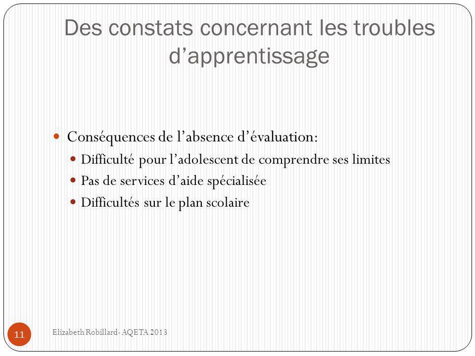 Des constats concernant les troubles d'apprentissage 11  Conséquences de l'absence d'évaluation:  Difficulté pour l'adolescent de comprendre ses lim