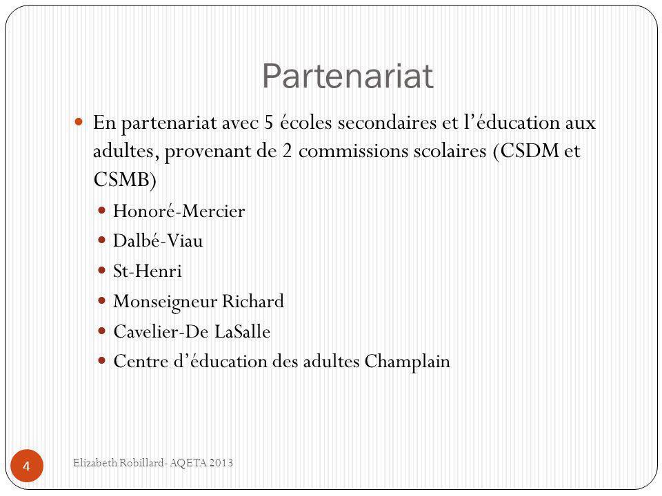 Partenariat 4  En partenariat avec 5 écoles secondaires et l'éducation aux adultes, provenant de 2 commissions scolaires (CSDM et CSMB)  Honoré-Mercier  Dalbé-Viau  St-Henri  Monseigneur Richard  Cavelier-De LaSalle  Centre d'éducation des adultes Champlain Elizabeth Robillard- AQETA 2013