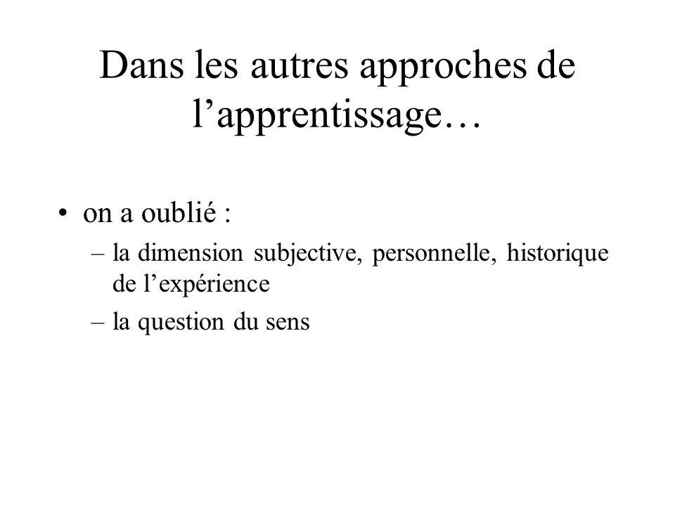 Dans les autres approches de l'apprentissage… •on a oublié : –la dimension subjective, personnelle, historique de l'expérience –la question du sens