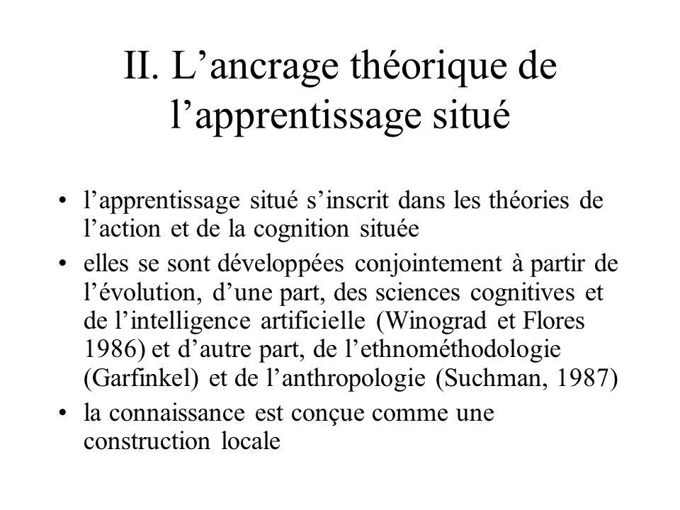 II. L'ancrage théorique de l'apprentissage situé •l'apprentissage situé s'inscrit dans les théories de l'action et de la cognition située •elles se so