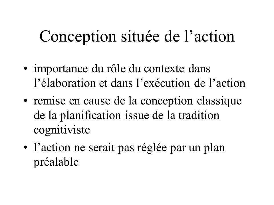 Conception située de l'action •importance du rôle du contexte dans l'élaboration et dans l'exécution de l'action •remise en cause de la conception classique de la planification issue de la tradition cognitiviste •l'action ne serait pas réglée par un plan préalable