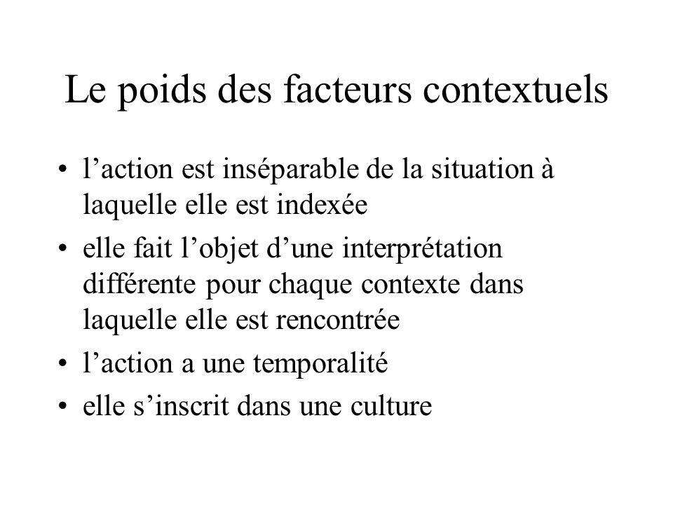Le poids des facteurs contextuels •l'action est inséparable de la situation à laquelle elle est indexée •elle fait l'objet d'une interprétation différente pour chaque contexte dans laquelle elle est rencontrée •l'action a une temporalité •elle s'inscrit dans une culture