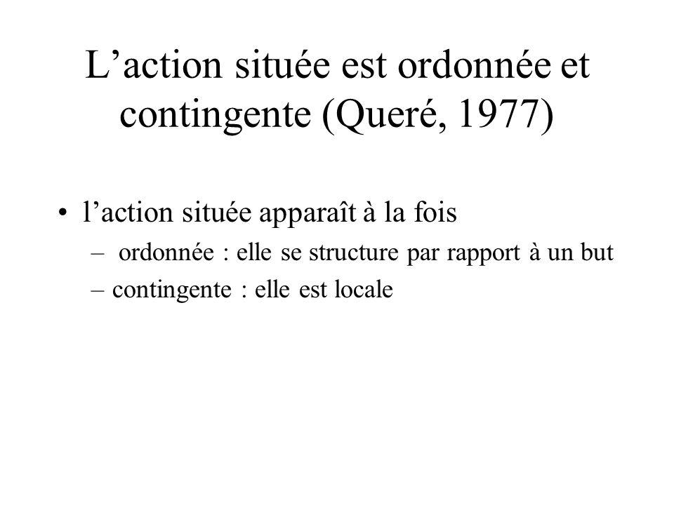 L'action située est ordonnée et contingente (Queré, 1977) •l'action située apparaît à la fois – ordonnée : elle se structure par rapport à un but –contingente : elle est locale
