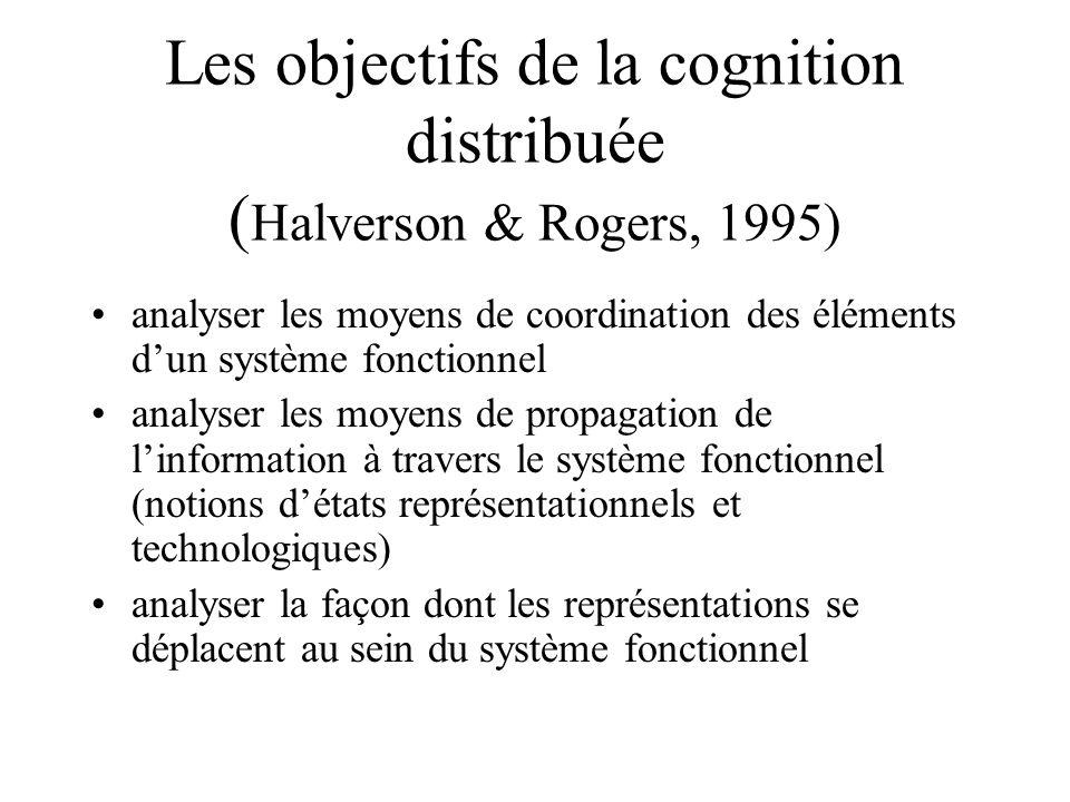 Les objectifs de la cognition distribuée ( Halverson & Rogers, 1995) •analyser les moyens de coordination des éléments d'un système fonctionnel •analyser les moyens de propagation de l'information à travers le système fonctionnel (notions d'états représentationnels et technologiques) •analyser la façon dont les représentations se déplacent au sein du système fonctionnel