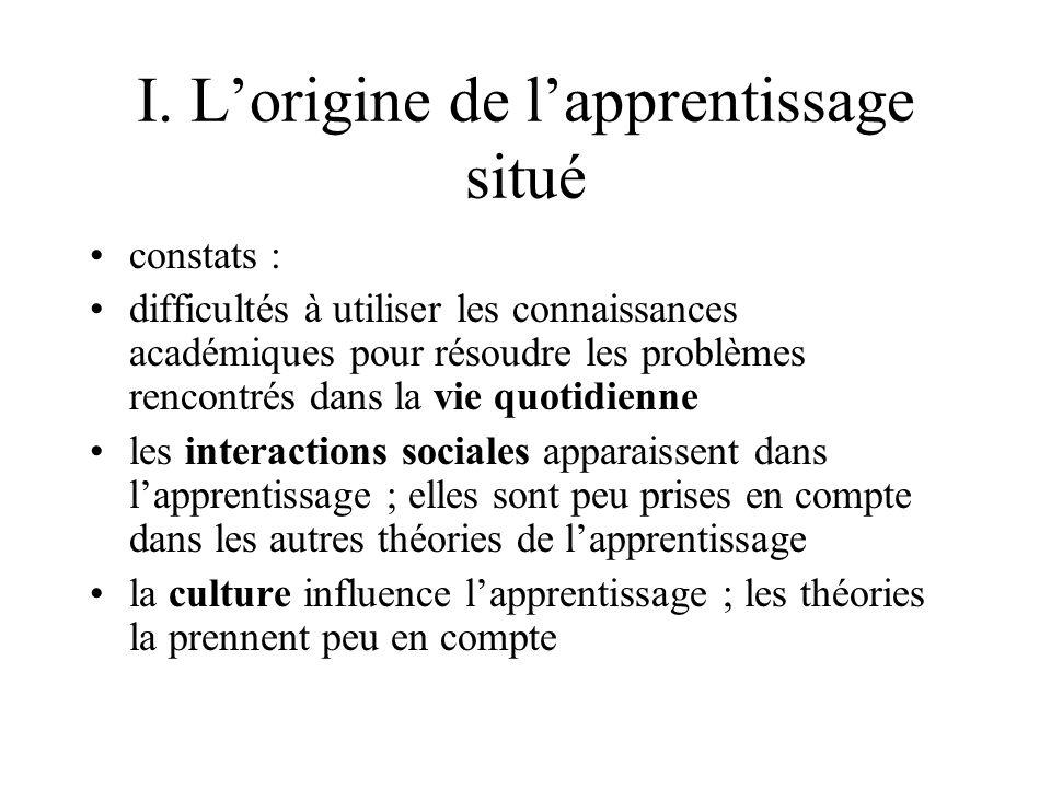 Pour Lave (2005) •l'apprentissage est une fonction de : –l'activité de l'apprenant, –du contexte dans lequel il apparaît –de la culture de laquelle est issu l'apprenant et de laquelle il apparaît •l'apprentissage est situé