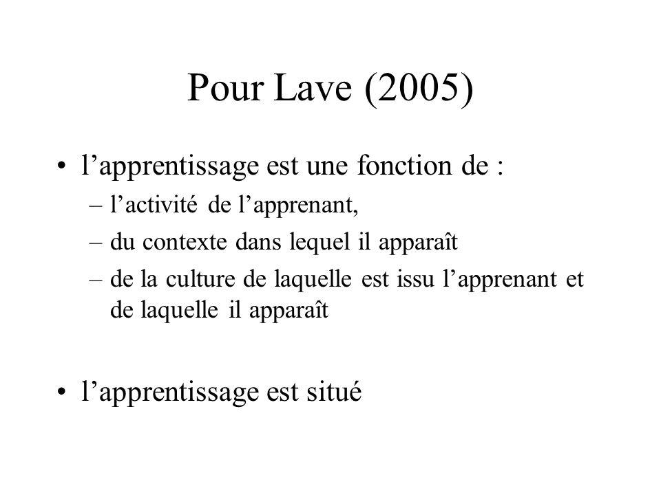 Pour Lave (2005) •l'apprentissage est une fonction de : –l'activité de l'apprenant, –du contexte dans lequel il apparaît –de la culture de laquelle es