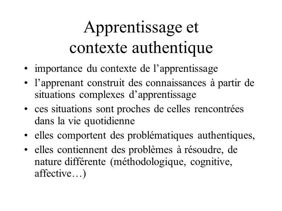 Apprentissage et contexte authentique •importance du contexte de l'apprentissage •l'apprenant construit des connaissances à partir de situations compl
