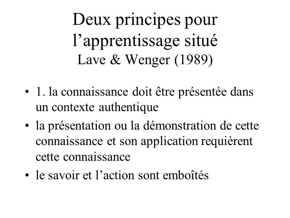 Deux principes pour l'apprentissage situé Lave & Wenger (1989) •1. la connaissance doit être présentée dans un contexte authentique •la présentation o