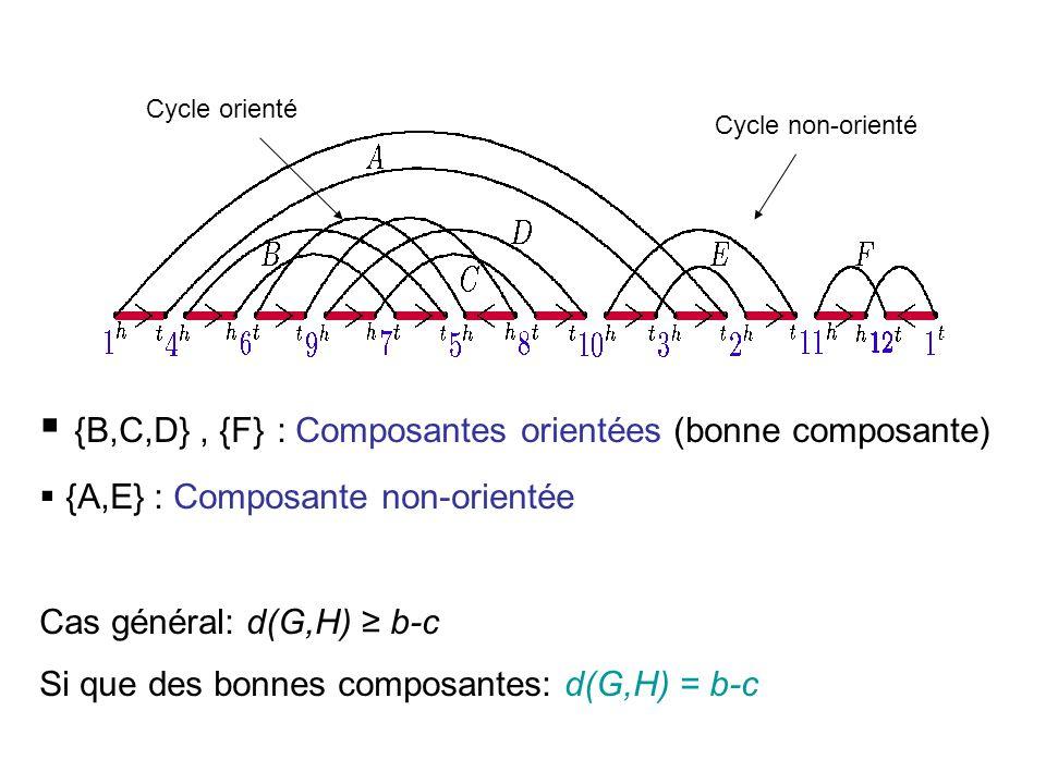 Cycle non-orienté Cycle orienté  {B,C,D}, {F} : Composantes orientées (bonne composante)  {A,E} : Composante non-orientée Cas général: d(G,H) ≥ b-c