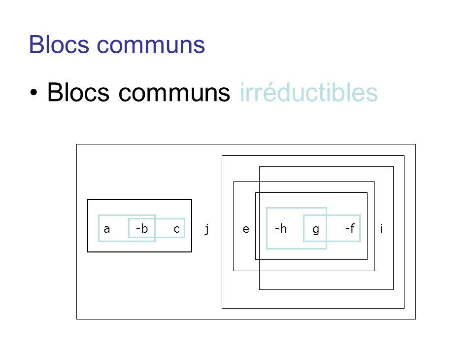 Blocs communs •Blocs communs irréductibles a -b c j e -h g -f i