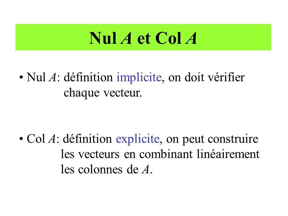 Nul A et Col A • Nul A: définition implicite, on doit vérifier chaque vecteur. • Col A: définition explicite, on peut construire les vecteurs en combi