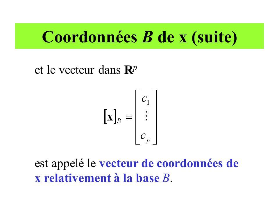 Coordonnées B de x (suite) est appelé le vecteur de coordonnées de x relativement à la base B. et le vecteur dans R p