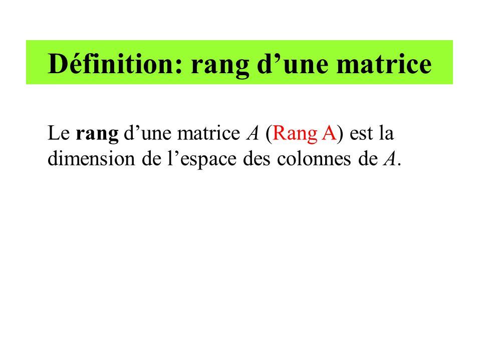 Définition: rang d'une matrice Le rang d'une matrice A (Rang A) est la dimension de l'espace des colonnes de A.