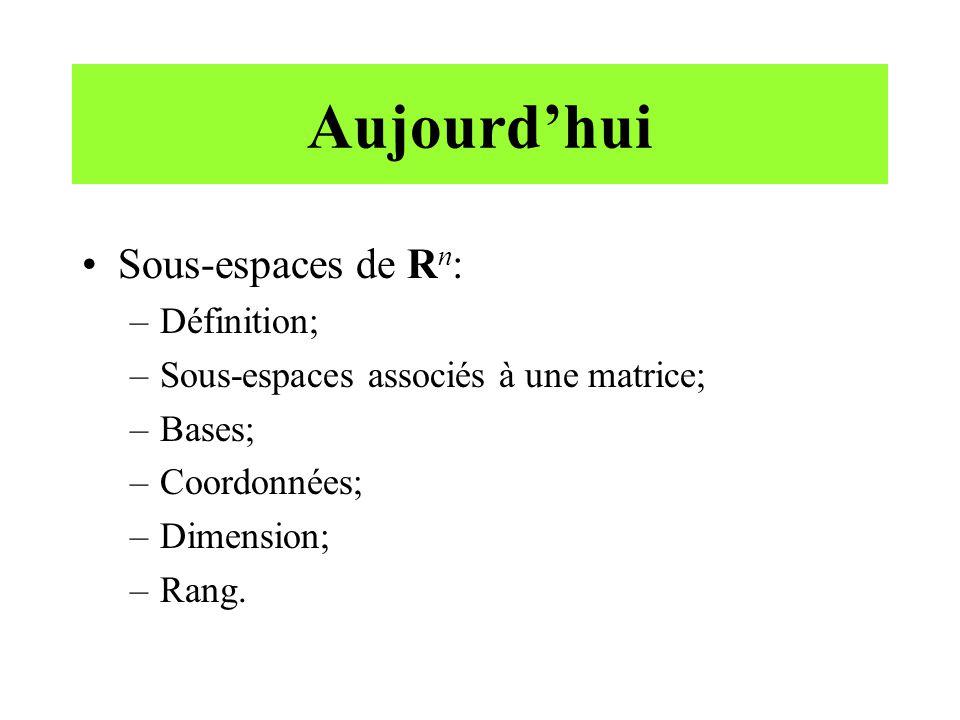 Aujourd'hui •Sous-espaces de R n : –Définition; –Sous-espaces associés à une matrice; –Bases; –Coordonnées; –Dimension; –Rang.