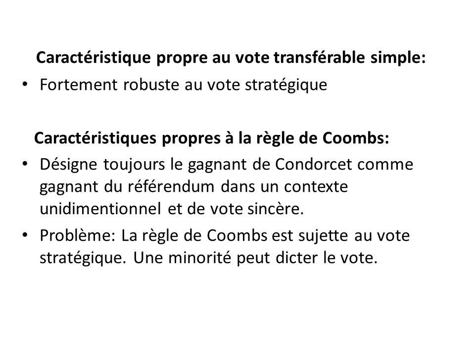 Caractéristique propre au vote transférable simple: • Fortement robuste au vote stratégique Caractéristiques propres à la règle de Coombs: • Désigne toujours le gagnant de Condorcet comme gagnant du référendum dans un contexte unidimentionnel et de vote sincère.