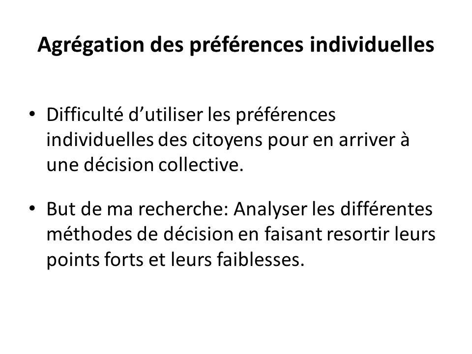 Agrégation des préférences individuelles • Difficulté d'utiliser les préférences individuelles des citoyens pour en arriver à une décision collective.