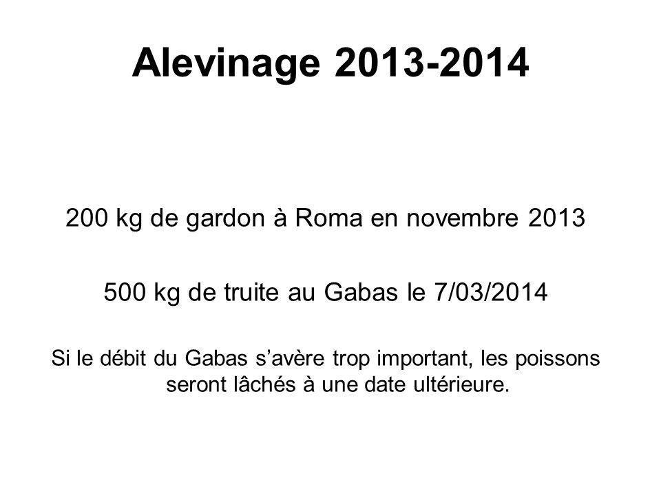Alevinage 2013-2014 200 kg de gardon à Roma en novembre 2013 500 kg de truite au Gabas le 7/03/2014 Si le débit du Gabas s'avère trop important, les poissons seront lâchés à une date ultérieure.