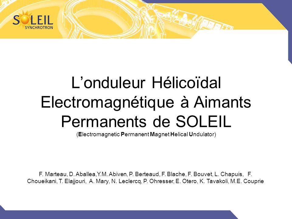 L'onduleur Hélicoïdal Electromagnétique à Aimants Permanents de SOLEIL (Electromagnetic Permanent Magnet Helical Undulator) F. Marteau, D. Aballea,Y.M