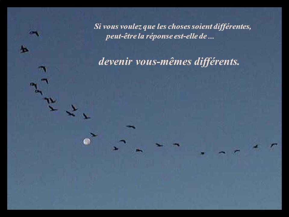 Si vous voulez que les choses soient différentes, peut-être la réponse est-elle de... devenir vous-mêmes différents.