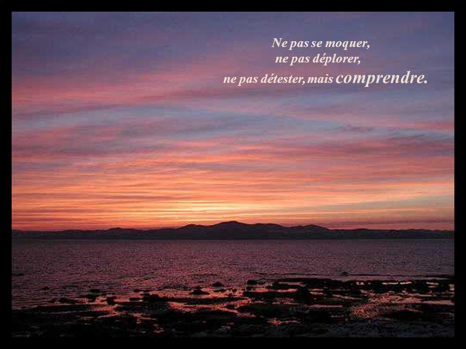Ne pas se moquer, ne pas déplorer, ne pas détester, mais comprendre.