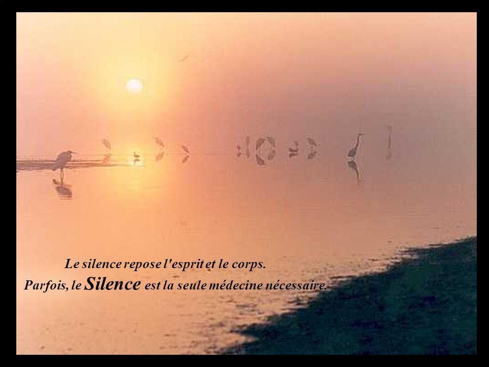 Le silence repose l'esprit et le corps. Parfois, le Silence est la seule médecine nécessaire.