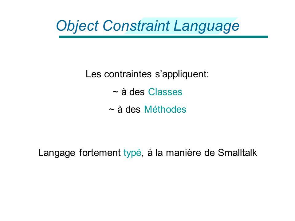 Object Constraint Language Langage formel pour la définition des contraintes d'un modèle Sans effet de bord: le prototype ne peut être modifié Principaux types de contraintes: ~ Invariantes ~ Pré opératoires ~ Post opératoires Construit pour UML