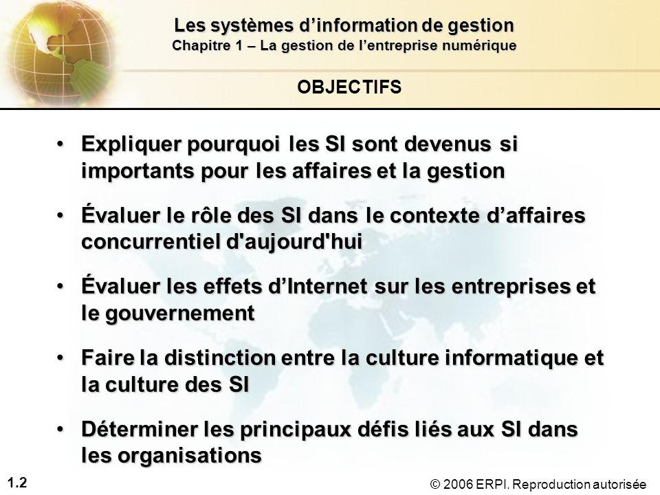 1.33 Les systèmes d'information de gestion Chapitre 1 – La gestion de l'entreprise numérique © 2006 ERPI.