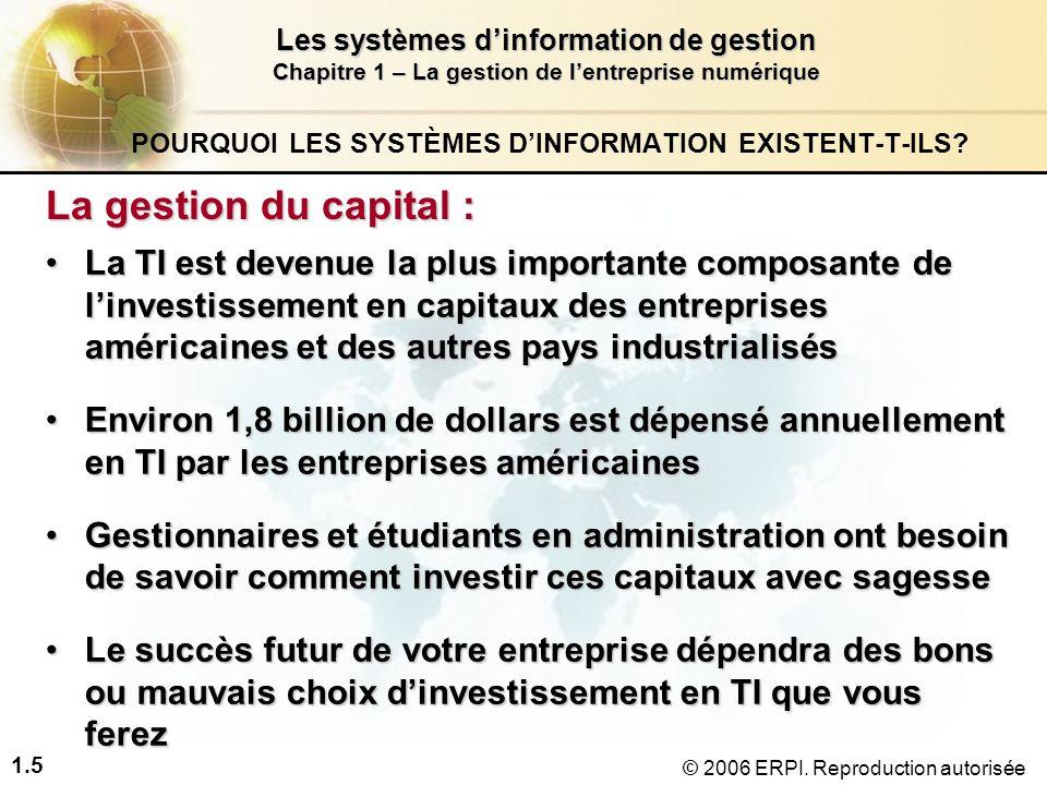 1.6 Les systèmes d'information de gestion Chapitre 1 – La gestion de l'entreprise numérique © 2006 ERPI.
