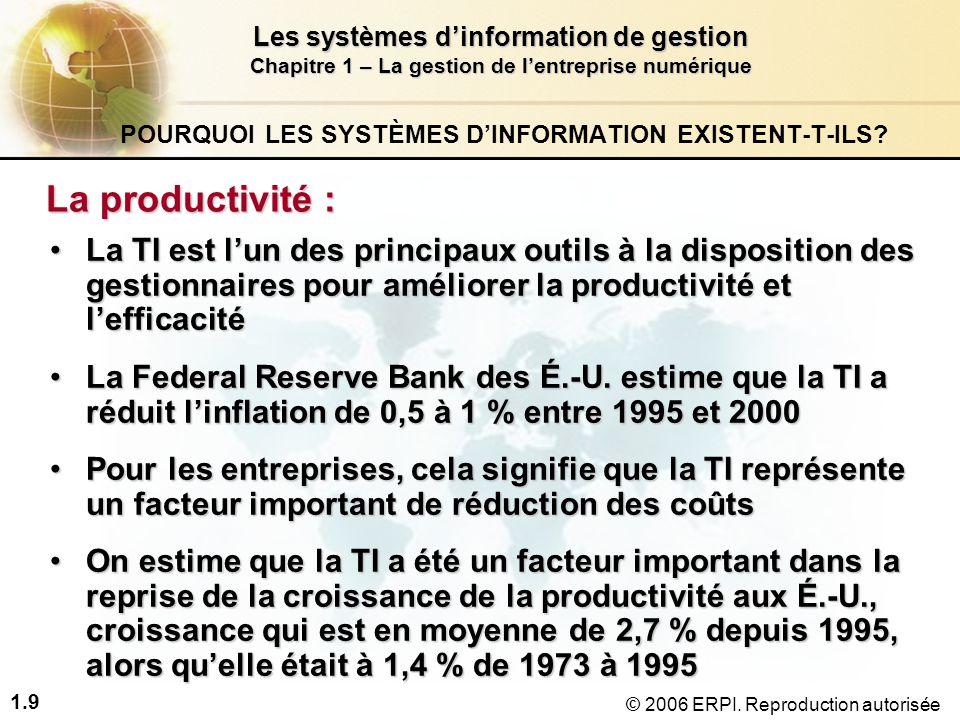 1.10 Les systèmes d'information de gestion Chapitre 1 – La gestion de l'entreprise numérique © 2006 ERPI.