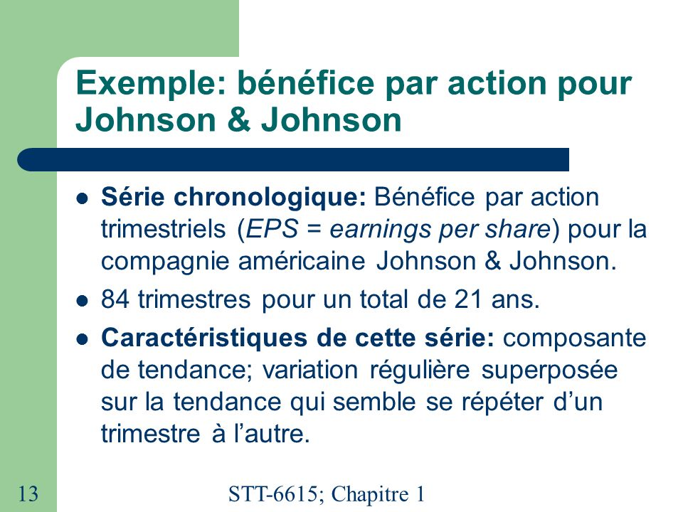 STT-6615; Chapitre 1 13 Exemple: bénéfice par action pour Johnson & Johnson  Série chronologique: Bénéfice par action trimestriels (EPS = earnings per share) pour la compagnie américaine Johnson & Johnson.