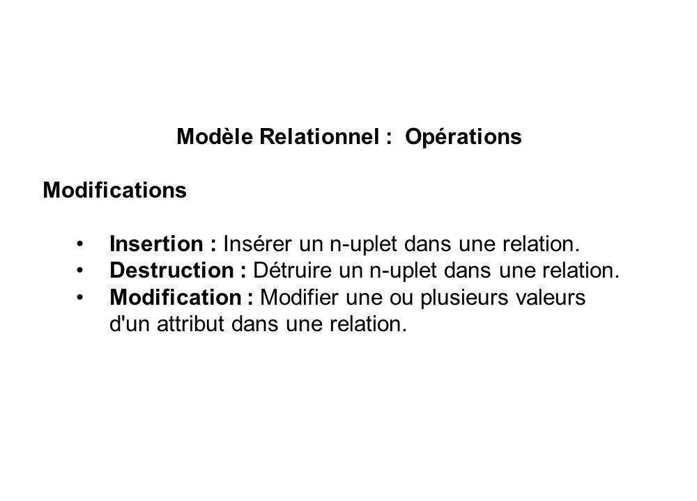 Modèle Relationnel : Opérations Modifications • Insertion : Insérer un n-uplet dans une relation. • Destruction : Détruire un n-uplet dans une relatio