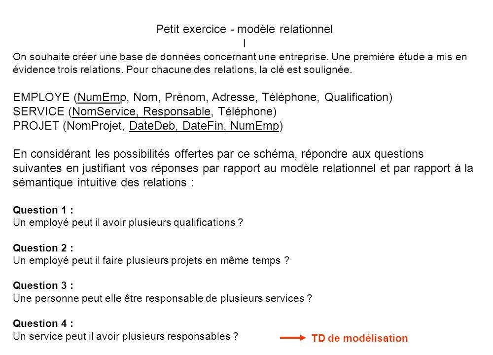 Petit exercice - modèle relationnel l On souhaite créer une base de données concernant une entreprise. Une première étude a mis en évidence trois rela