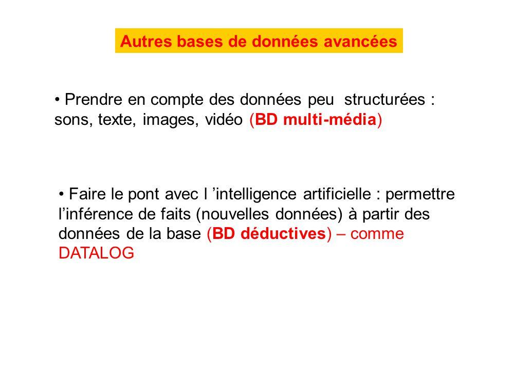 • Prendre en compte des données peu structurées : sons, texte, images, vidéo (BD multi-média) Autres bases de données avancées • Faire le pont avec l