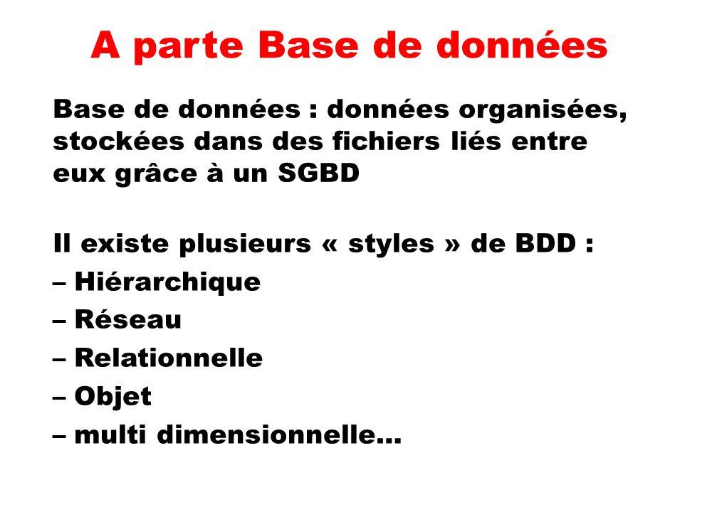 A parte Base de données Il existe plusieurs « styles » de BDD : –Hiérarchique –Réseau –Relationnelle –Objet –multi dimensionnelle… Base de données : d
