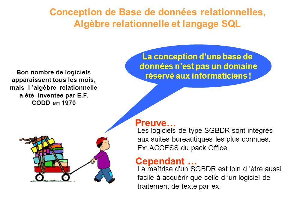 La conception d'une base de données n'est pas un domaine réservé aux informaticiens ! Conception de Base de données relationnelles, Algèbre relationne