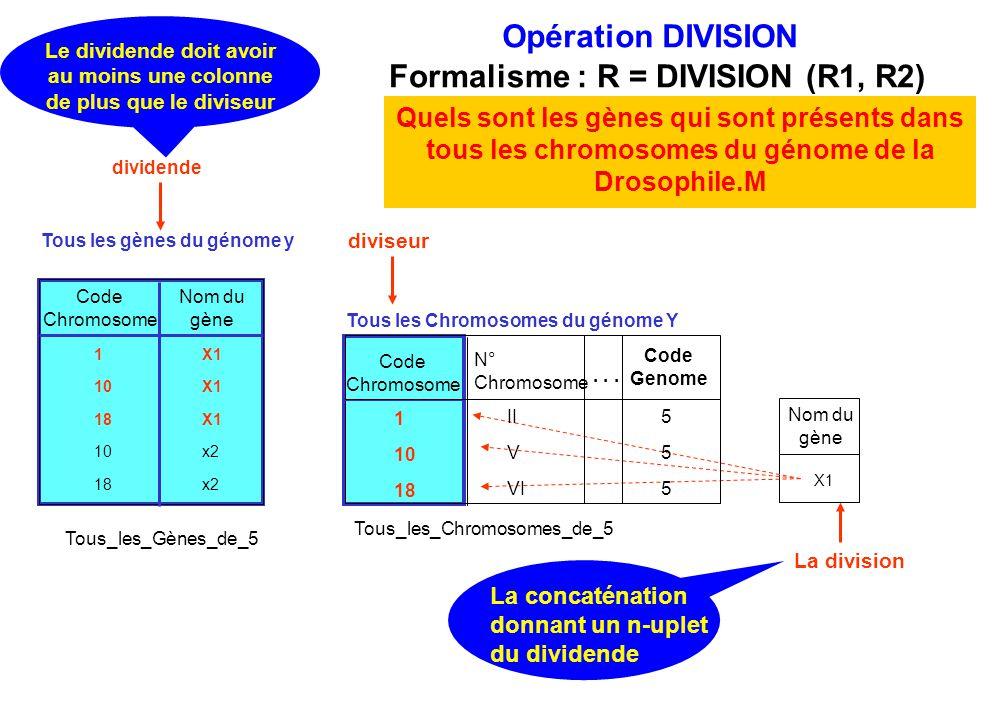 diviseur Opération DIVISION Formalisme : R = DIVISION (R1, R2) Quels sont les gènes qui sont présents dans tous les chromosomes du génome de la Drosop
