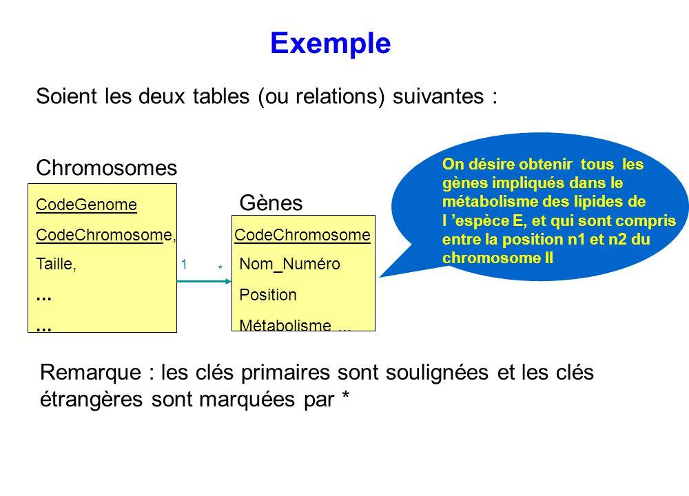Remarque : les clés primaires sont soulignées et les clés étrangères sont marquées par * Exemple On désire obtenir tous les gènes impliqués dans le mé