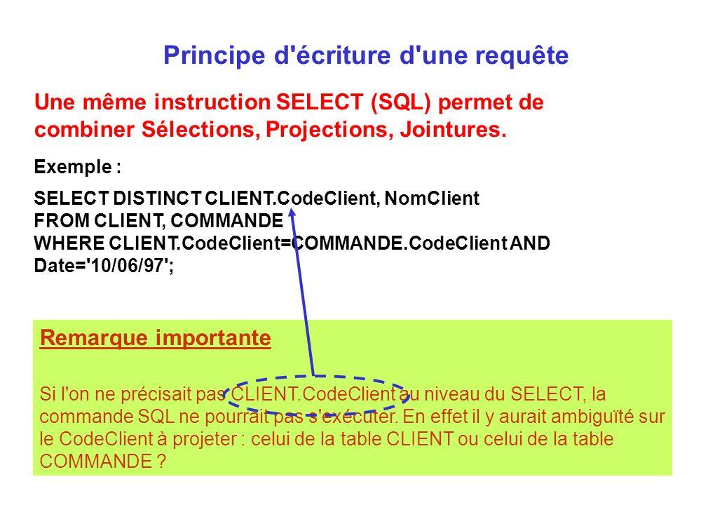 Remarque importante Si l'on ne précisait pas CLIENT.CodeClient au niveau du SELECT, la commande SQL ne pourrait pas s'exécuter. En effet il y aurait a