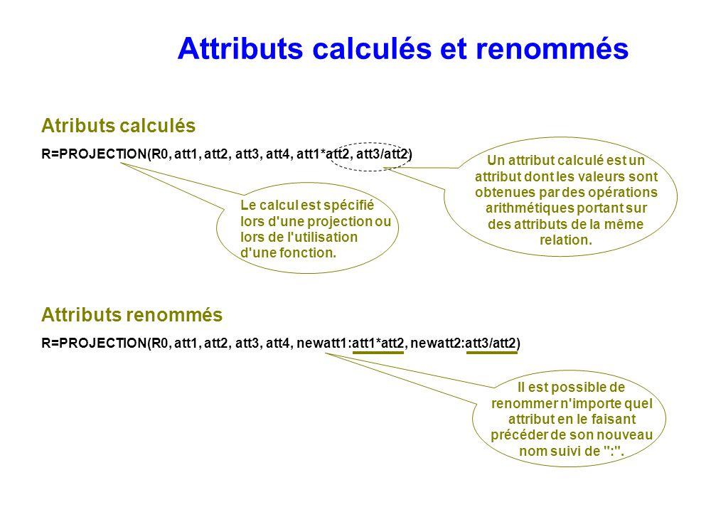 Attributs renommés R=PROJECTION(R0, att1, att2, att3, att4, newatt1:att1*att2, newatt2:att3/att2) Attributs calculés et renommés Le calcul est spécifi