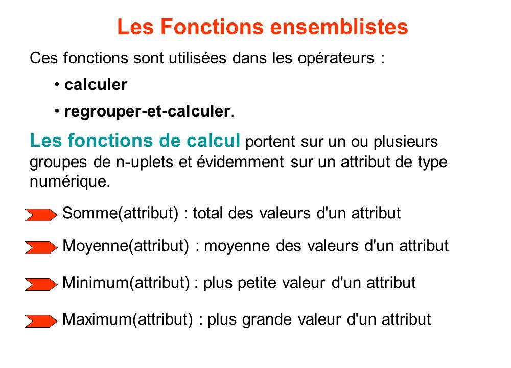 Les fonctions de calcul portent sur un ou plusieurs groupes de n-uplets et évidemment sur un attribut de type numérique. Les Fonctions ensemblistes So