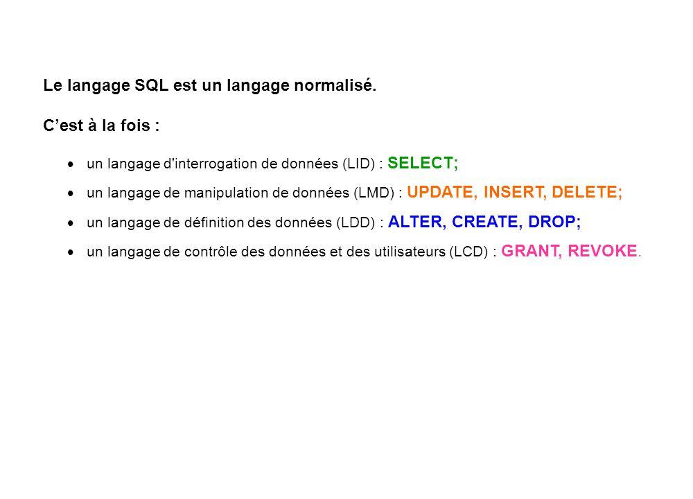 Le langage SQL est un langage normalisé. C'est à la fois :  un langage d'interrogation de données (LID) : SELECT;  un langage de manipulation de don