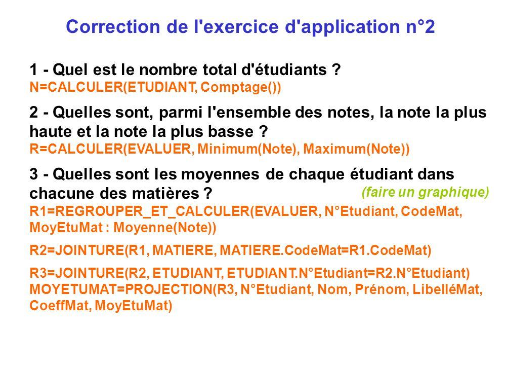 1 - Quel est le nombre total d'étudiants ? N=CALCULER(ETUDIANT, Comptage()) 2 - Quelles sont, parmi l'ensemble des notes, la note la plus haute et la