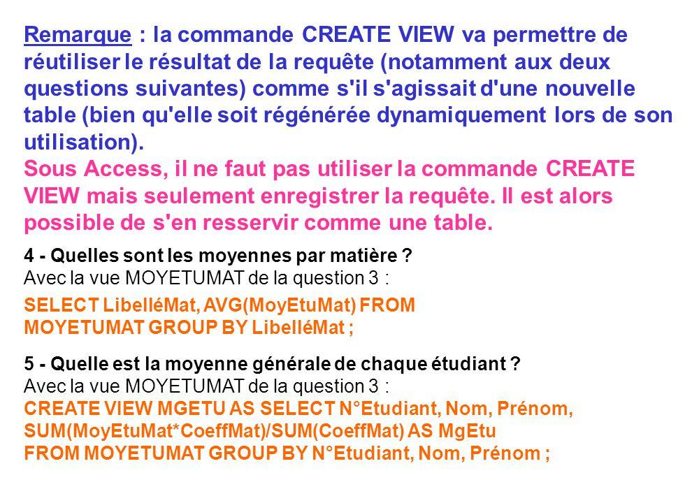 Remarque : la commande CREATE VIEW va permettre de réutiliser le résultat de la requête (notamment aux deux questions suivantes) comme s'il s'agissait