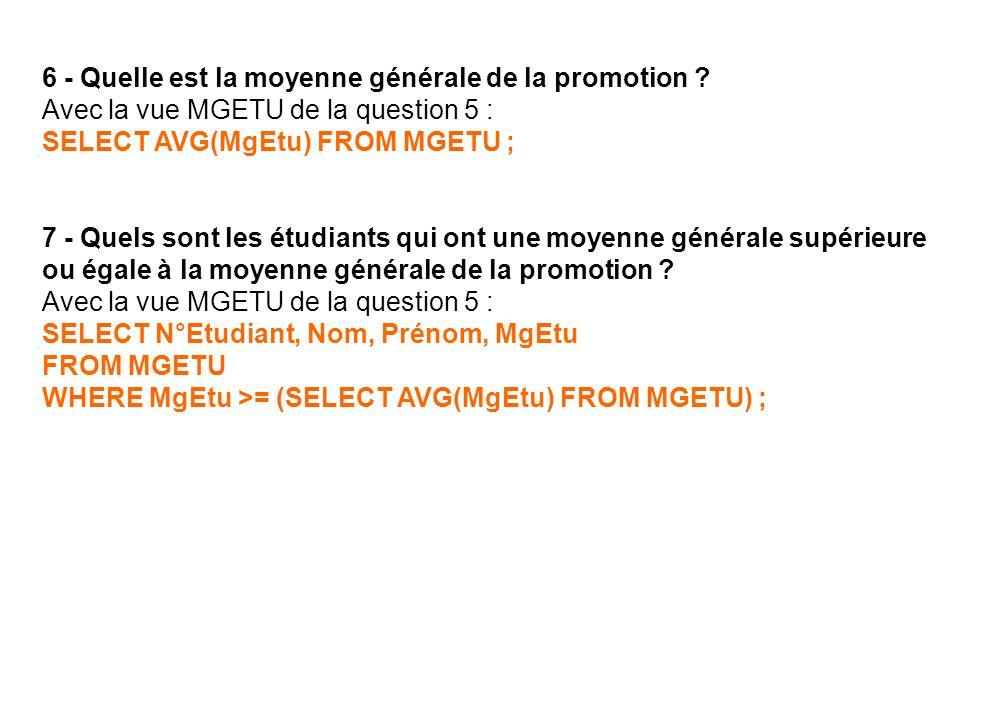 6 - Quelle est la moyenne générale de la promotion ? Avec la vue MGETU de la question 5 : SELECT AVG(MgEtu) FROM MGETU ; 7 - Quels sont les étudiants