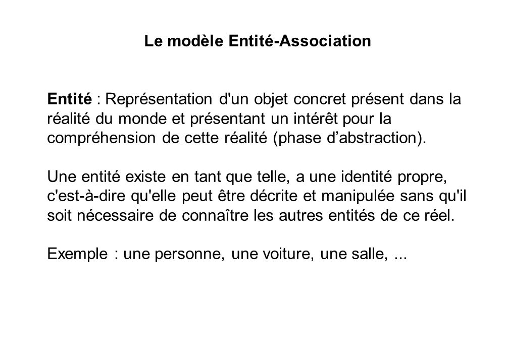 Le modèle Entité-Association Entité : Représentation d'un objet concret présent dans la réalité du monde et présentant un intérêt pour la compréhensio