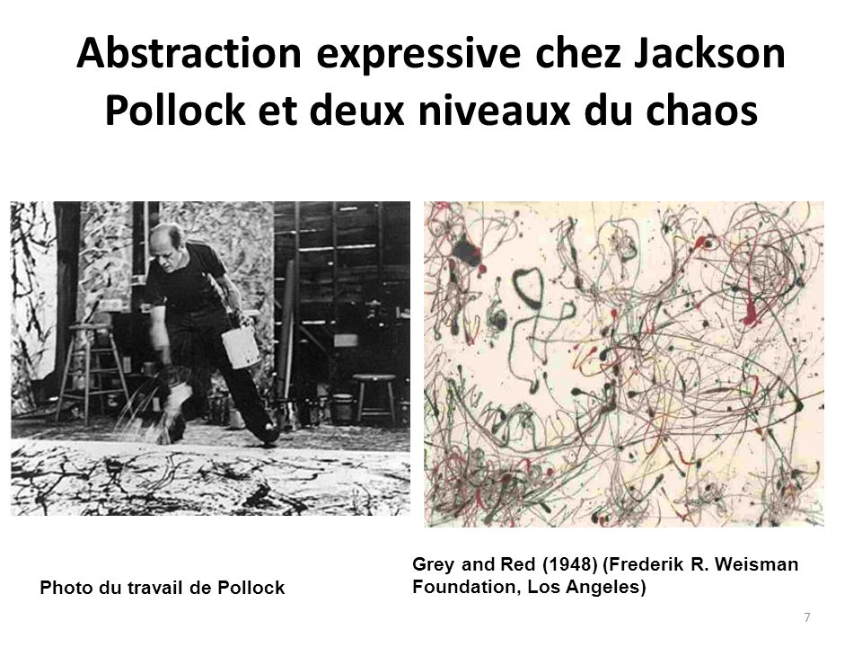 Abstraction expressive chez Jackson Pollock et deux niveaux du chaos Photo du travail de Pollock Grey and Red (1948) (Frederik R. Weisman Foundation,