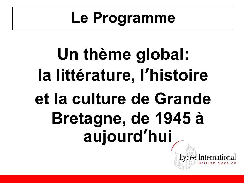 Le Programme Un thème global: la littérature, l'histoire et la culture de Grande Bretagne, de 1945 à aujourd'hui